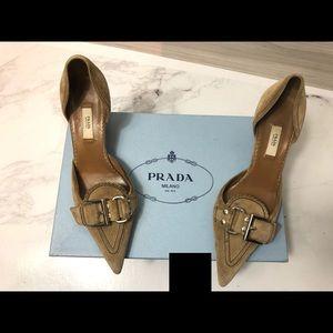 Authentic prada suede kitty heels